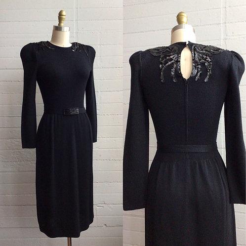 1980s Black Saks Knit Dress - Medium-Large