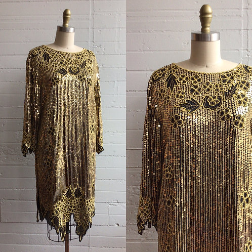 1980s Silk Gold Sequin Shift dress - Medium / Large