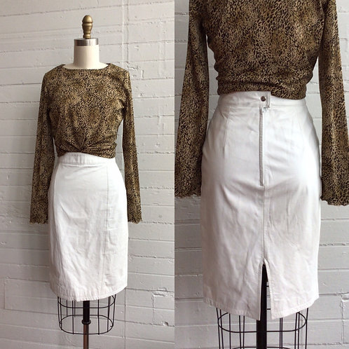 1980s White Leather Pencil Skirt - Xsmall