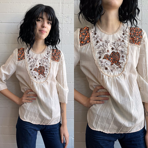 1970s Bohemian Embroidered Top - Small
