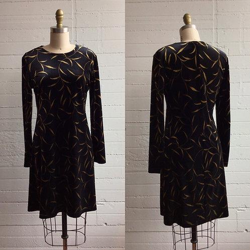1990s Black Velvet Slinky Dress with Gold Leaf - Medium