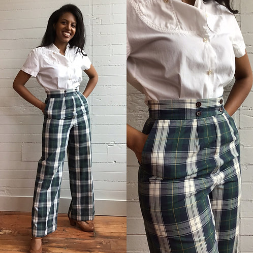 1970s Green Plaid Wide Leg Pants - Small