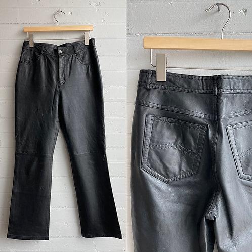 1980s Black Leather Pants - Medium / Large