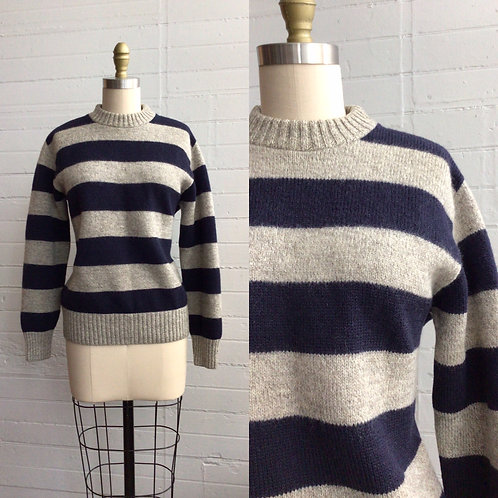 1980s Navy and Gray Stripe Sweater - Medium