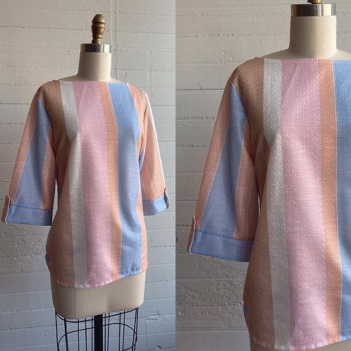 1980s Pastel Stripe Boxy Top - Medium / Large