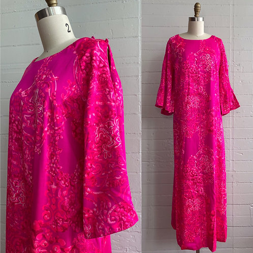 1970s Pink Hawaiian MuuMuu Maxi Dress - Large / XL