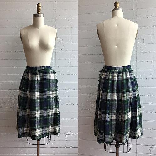 1970s Tartan Plaid Mini Kilt Skirt - Small