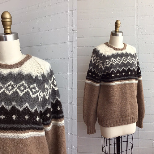 1980s Alpaca Wool Fair Isle Sweater - Medium