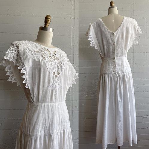 1980s White Lace Dress - Medium