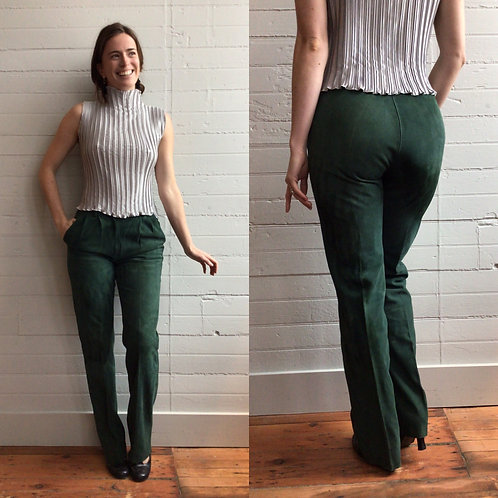 1980s Green Suede High Rise Pants - Small