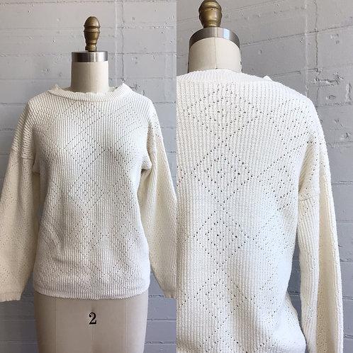 1980s White Cream Sweater - Small / Medium