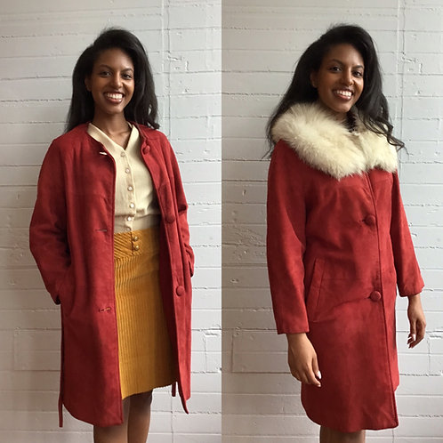 1960s Red Suede Jacket with Detachable Fur Collar - Small / Medium