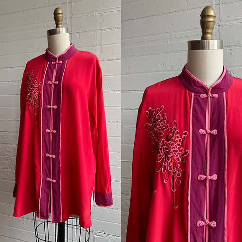 1990s Red Silk Embroidered Blouse - Large