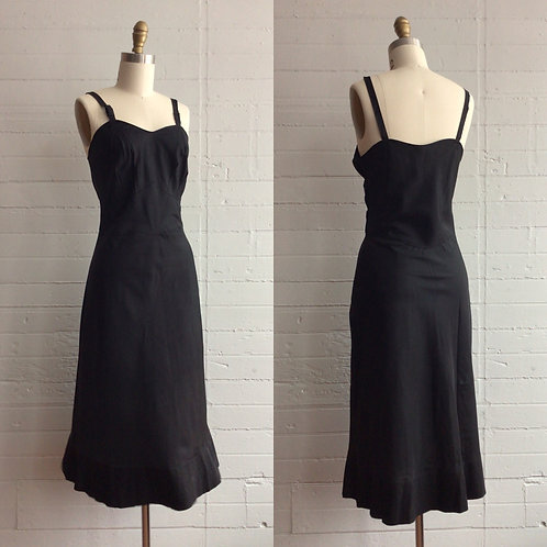 1950s Black Tea Length Slip Dress - Xsmall