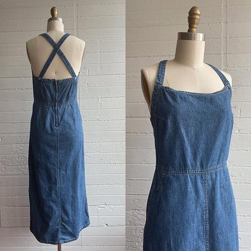 1990s Denim Maxi Dress - Small