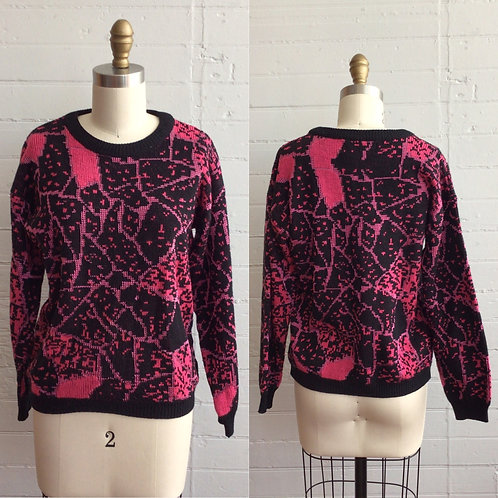 1980s Black and Pink Sweater - Medium