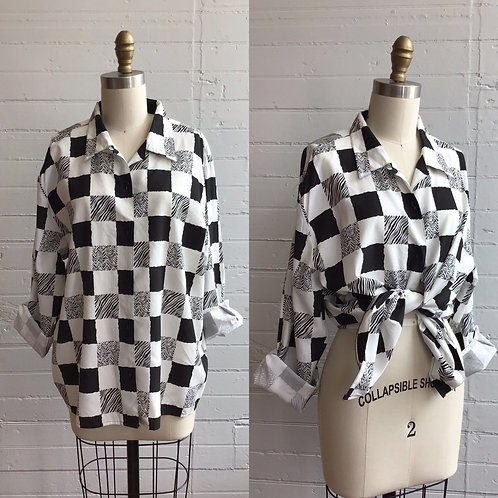 1980s Black and White Checkered Blouse - Large