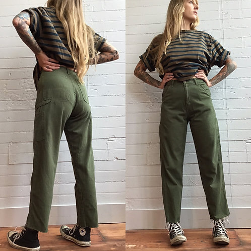 1980s Army Green Carpenter Pants - Xsmall / Small