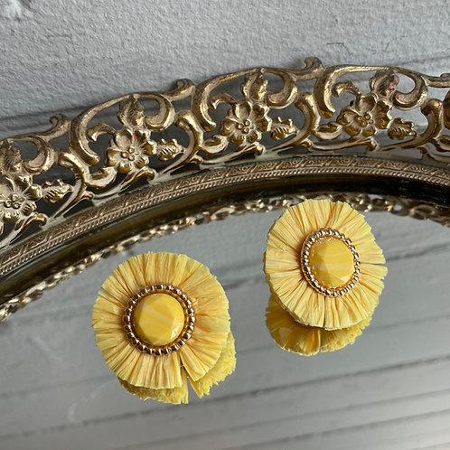 Yellow Straw Stud Earrings