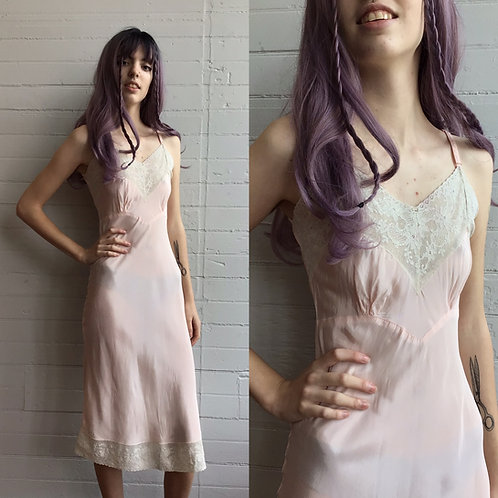 1950s Pale Pink Slip with Lace Details - Xsmall