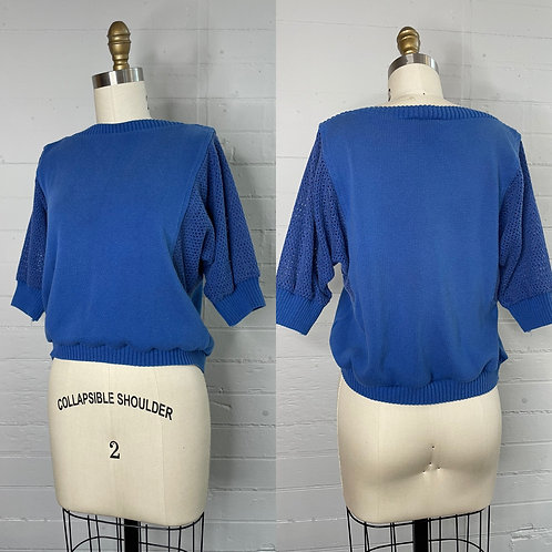 1980s Blue Short Sleeve Sweater - Medium