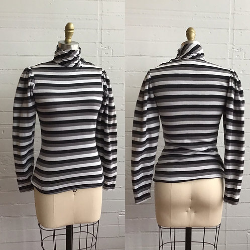 1980s Striped Puff Sleeve Turtleneck Top - Xsmall / Small