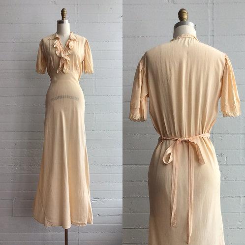 1930s Peach Slip Dress - Medium