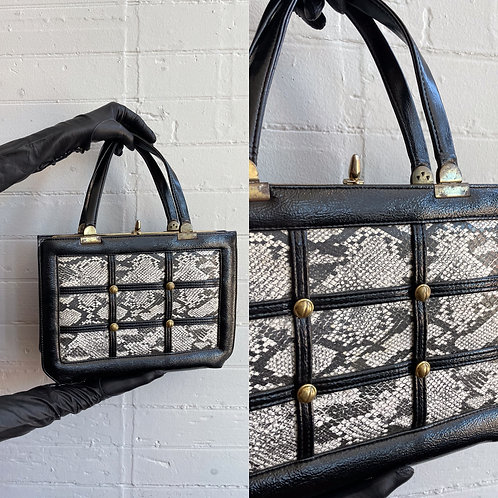 1980s Faux Leather and Snakeskin Bag