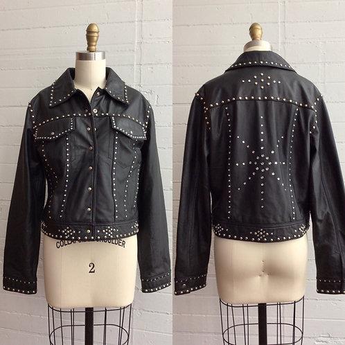1980s Studded and Rhinestone Leather Jacket - Medium / Large