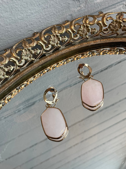 Gold Tone Drop Stone Earrings