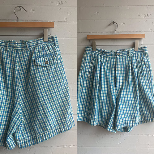 1980s Blue Plaid High Rise Shorts - Large / XL