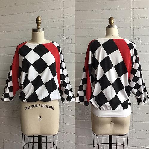 1980s Checkered Batwing Tee - Medium / Large