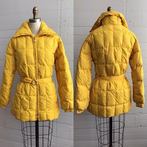 1970s Yellow Puffer Jacket with Belt - Medium