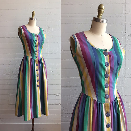 1980s Rainbow Dress - Medium