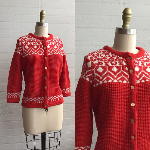 1980s Red Fair Isle Sweater - Medium / Large