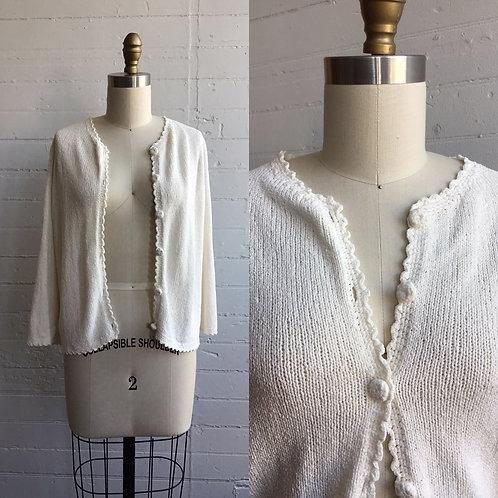 1990s Cream Loose Knit Sweater - Medium / Large