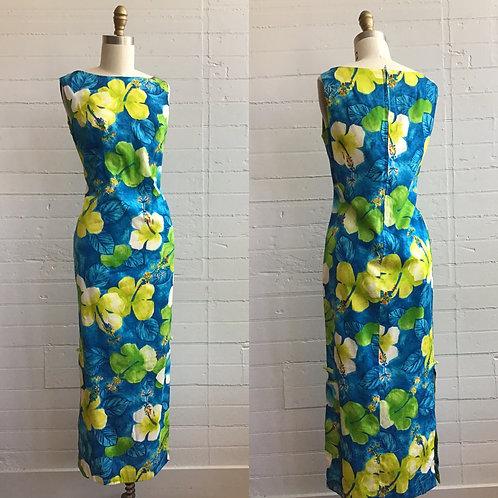 1970s Blue Hawaiian Print Maxi Dress - Small