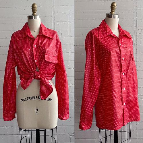 1970s Red Polka Dot Rain Shirt - Large