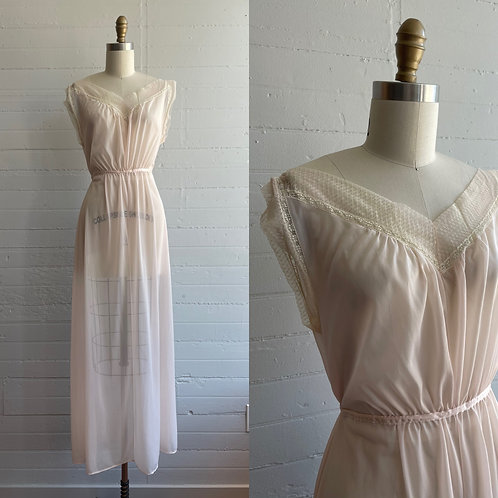 1970s Pale Pink Night Gown - Small / Medium