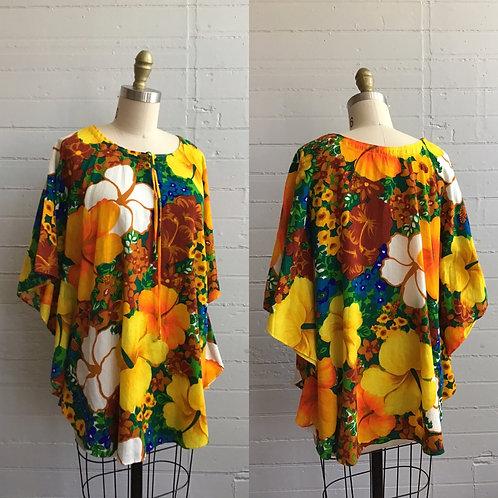 1970s Hawaiian Print Flowy Top - One Size