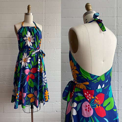1970s Floral Halter Wrap Dress - Medium
