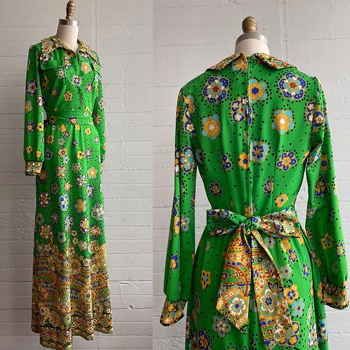 1970s Green Floral Maxi Dress - XS / Small