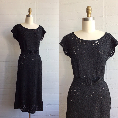 1950s Black Peck and Peck Wiggle Dress - Medium / Large