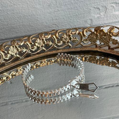 Silver Zipper Cuff Bracelet