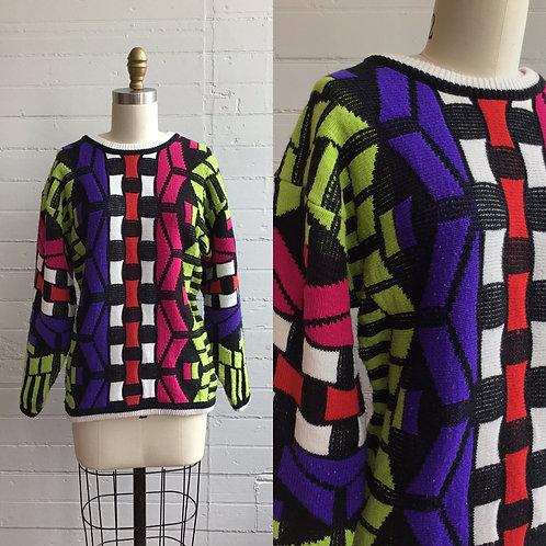 1980s Funky Print Neon Sweater - Small / Medium