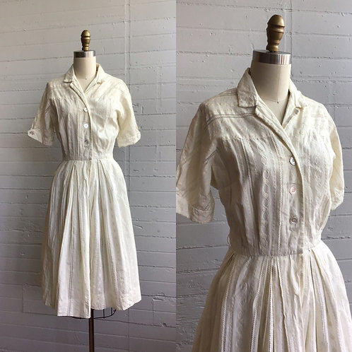 1950s White Embroidered Day Dress - Small / Medium