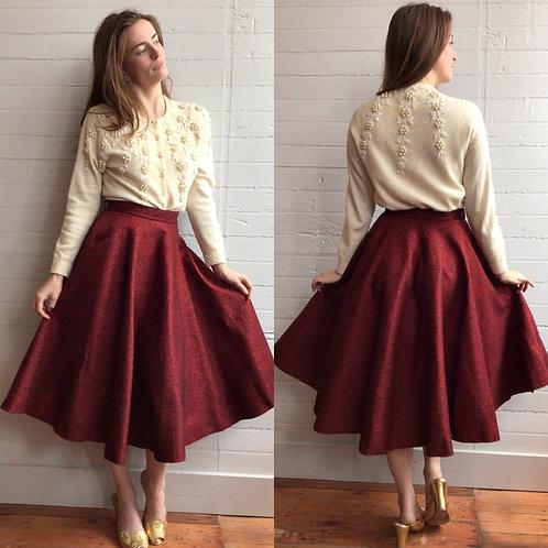 1950s Burgundy Red Felt Circle Skirt -Xsmall / Small