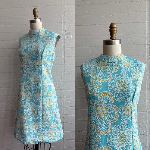 1970s Flower Power Blue Dress - Large / XL