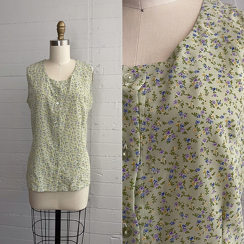 1990s Green Floral Blouse - Large