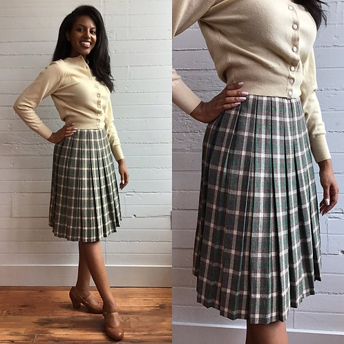 1960s Wool Plaid Skirt - Small